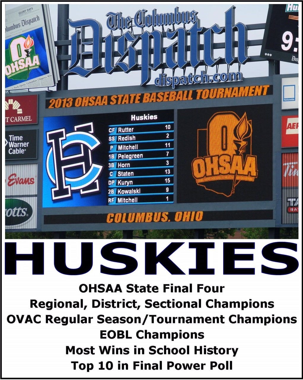 Regional, District, Sectional Champions, OVAC Regular Season/Tournament Champions, EOBL Champions